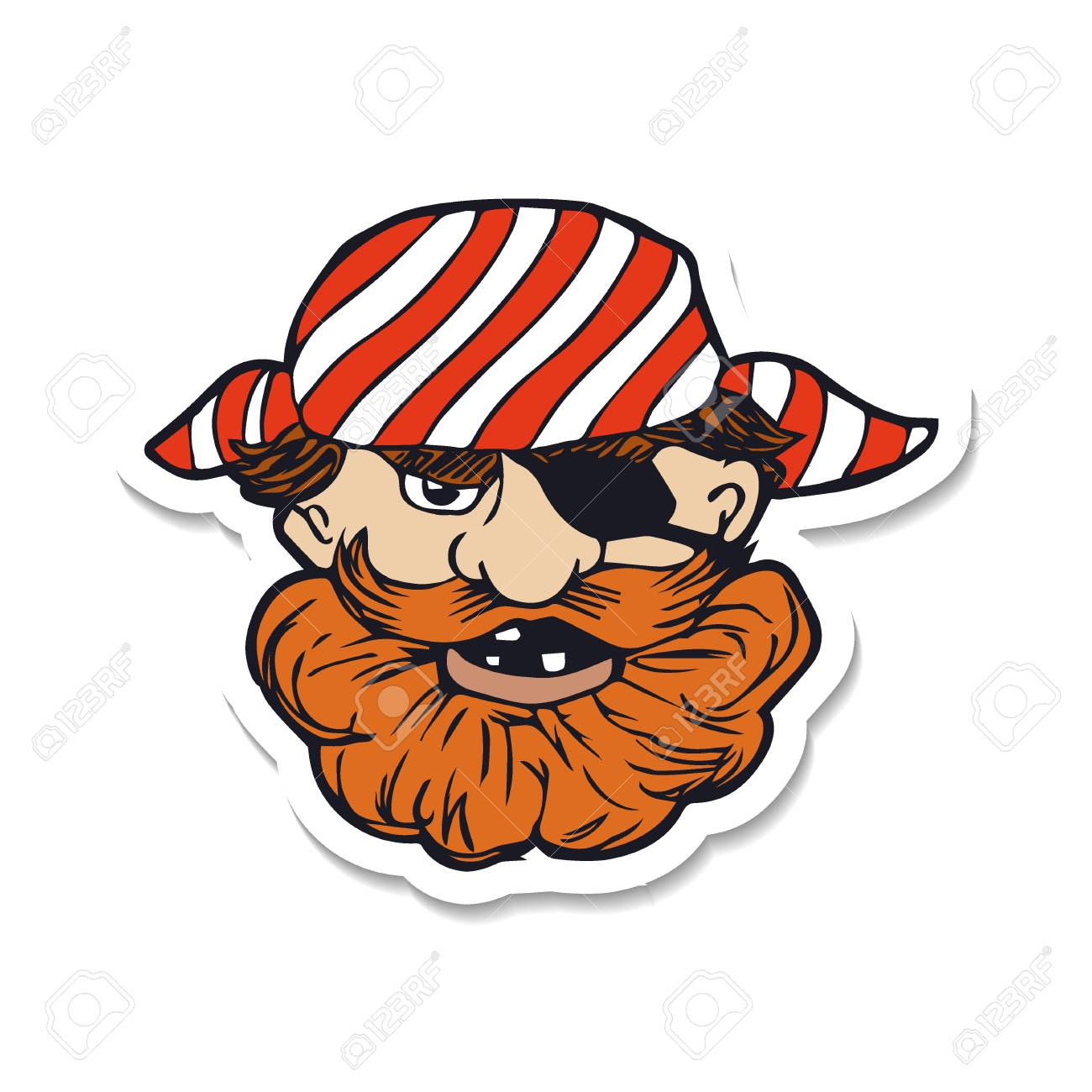 Funny bearded pirate with eye patch cartoon character vector funny bearded pirate with eye patch cartoon character vector illustration based on hand drawn stopboris Image collections
