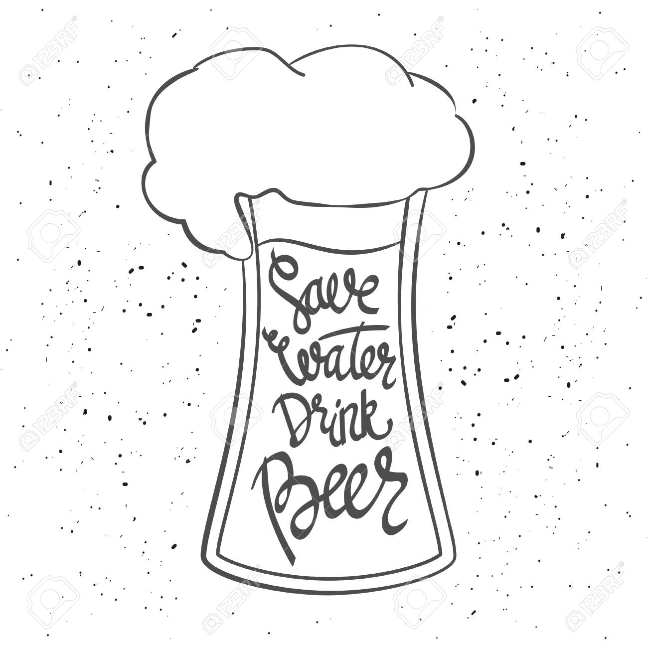 Save water drink beer hand lettering typographic poster monochrome