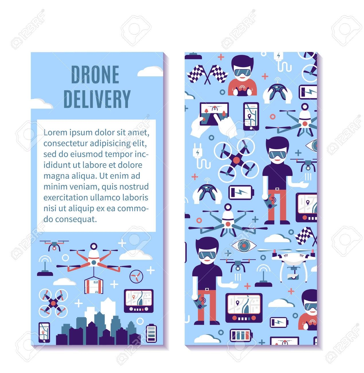 Vector Vertical Banner Or Flyer Template For Air Drone Delivery ...