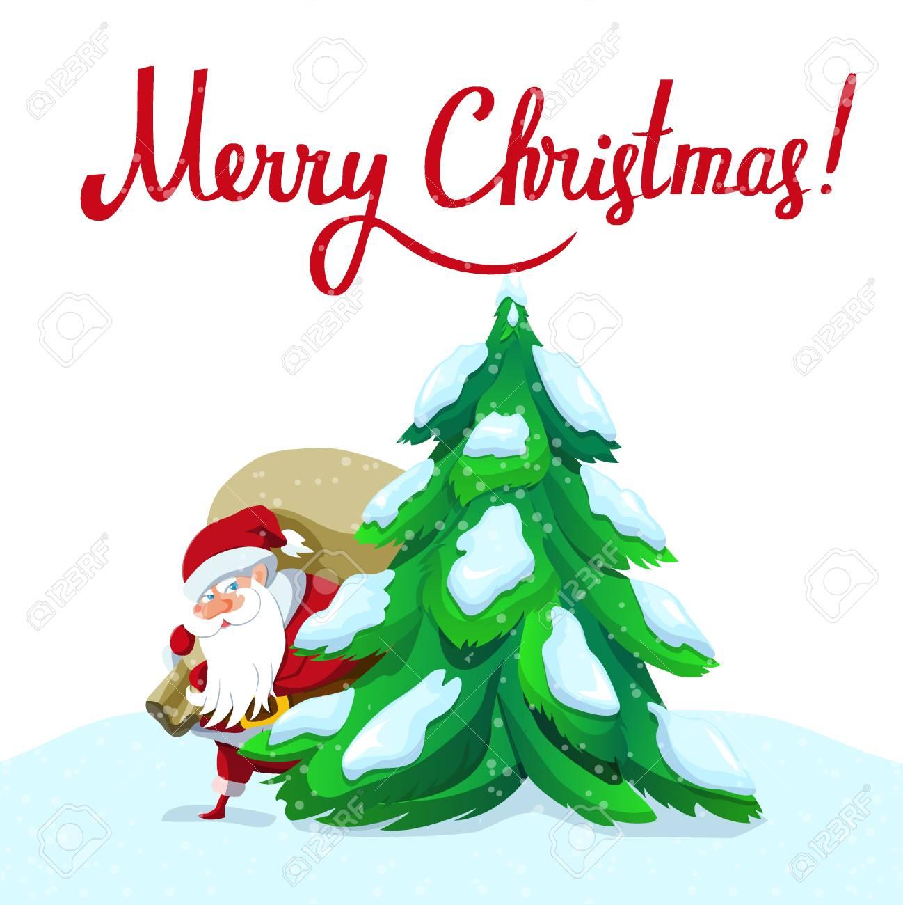 Santa Claus Mit Großen Sack Fallen Die Geschenke. Weihnachten Oder ...