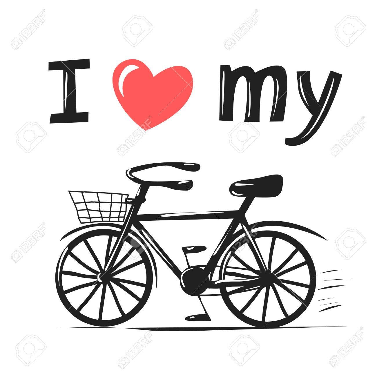 私の自転車が大好きですかわいいヒップ タイポグラフィ ベクトル