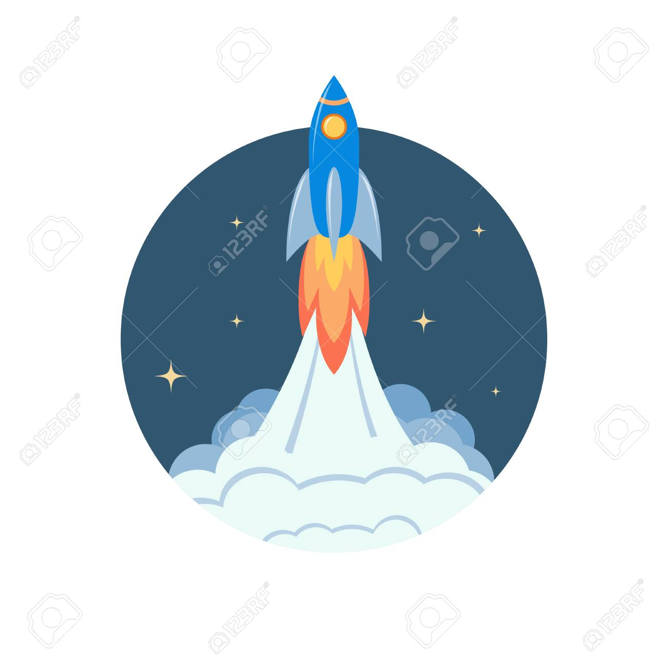 Space Rocket Launch Spaceship Taking Off On A Mission Vector