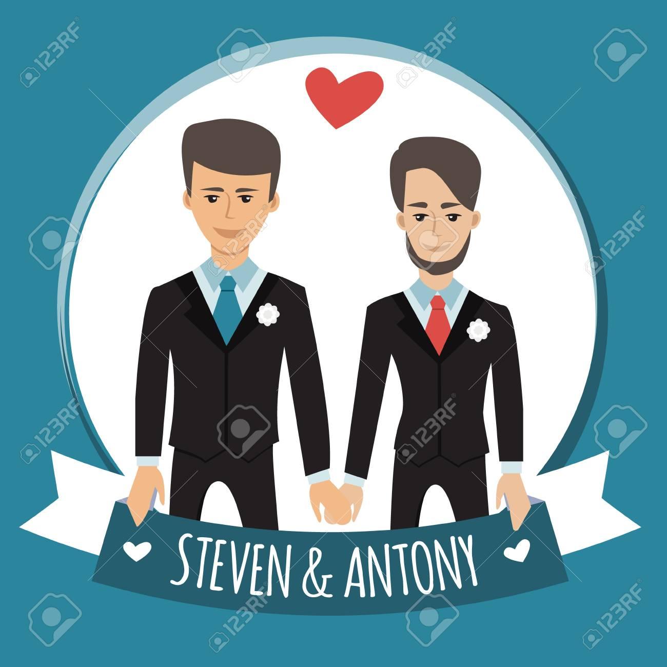 Schwules Paar Vektorabbildung Getrennt Auf Weiss