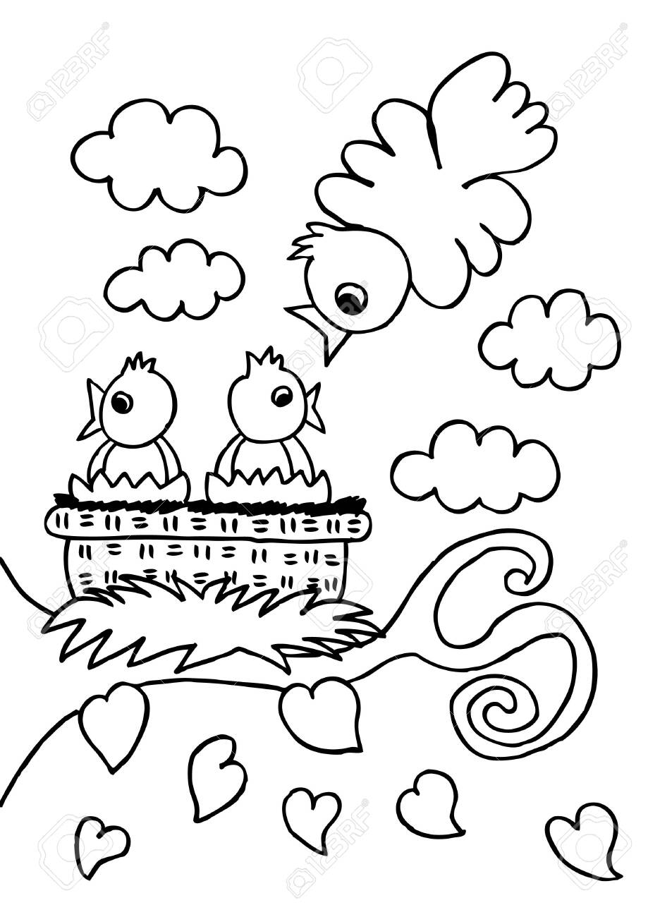 sheets coloring the bird family - 151785549