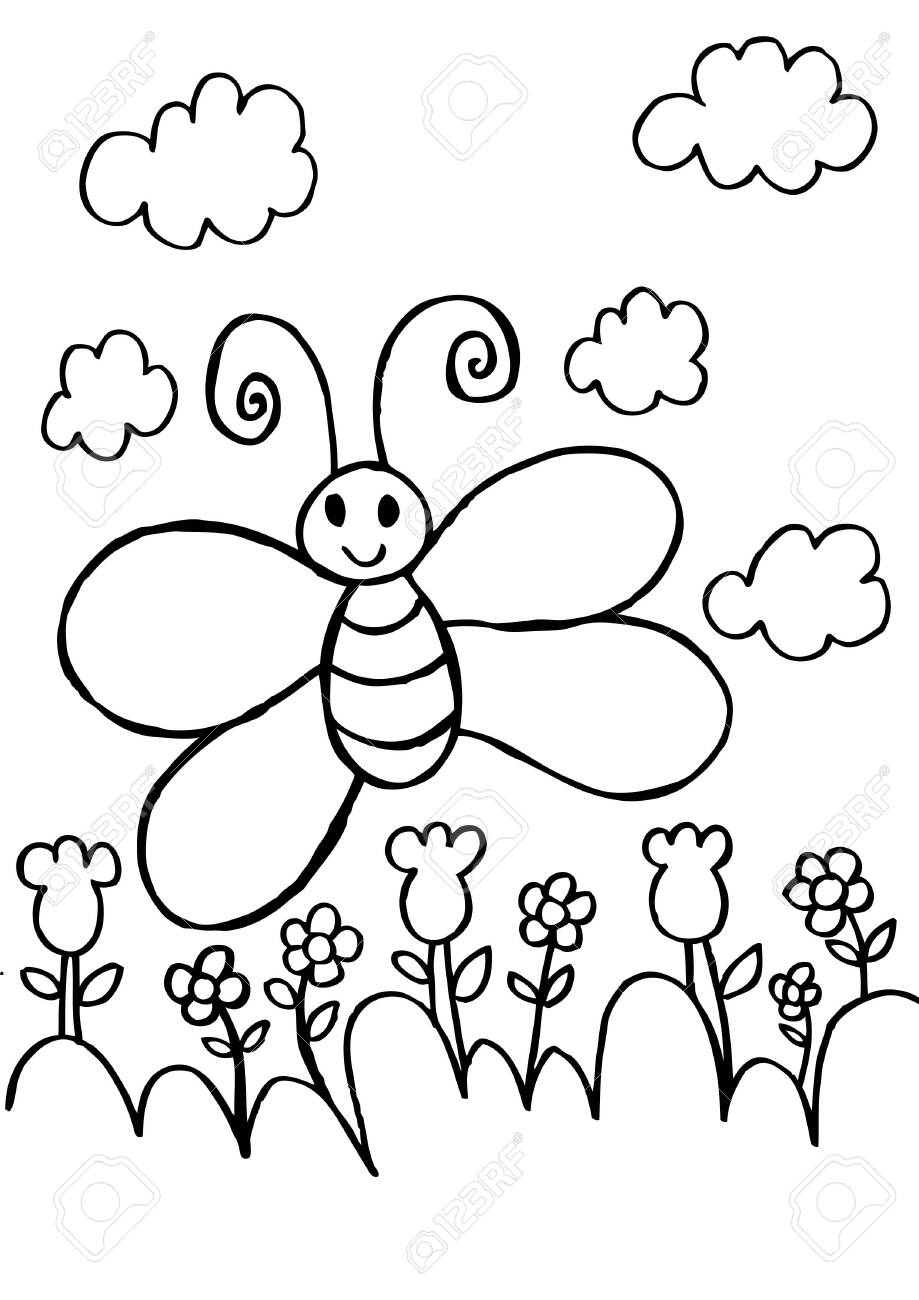 Butterfly And Flower Coloring Pages Royalty Free Cliparts Vectors And Stock Illustration Image 151928319