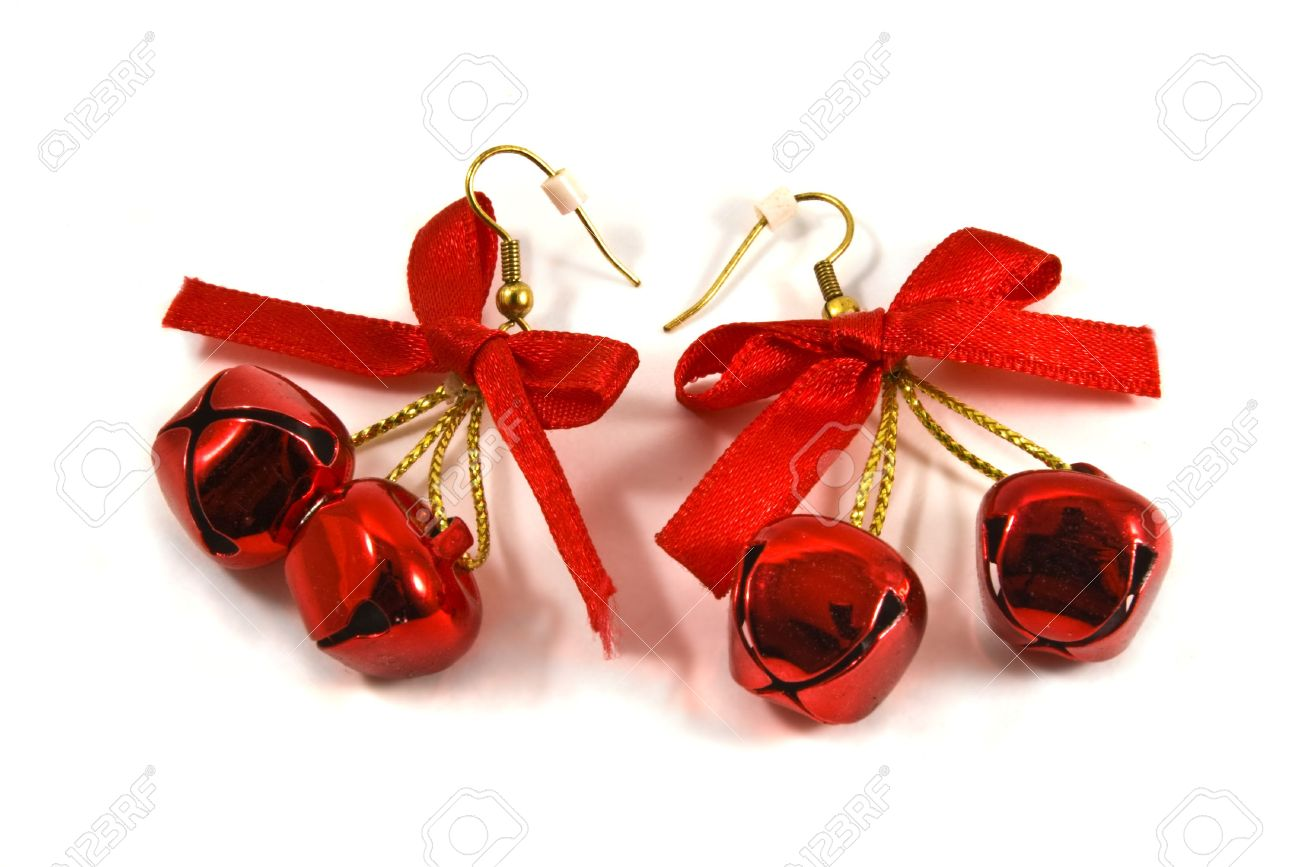 christmas jingle bell earrings stock photo, picture and royalty free