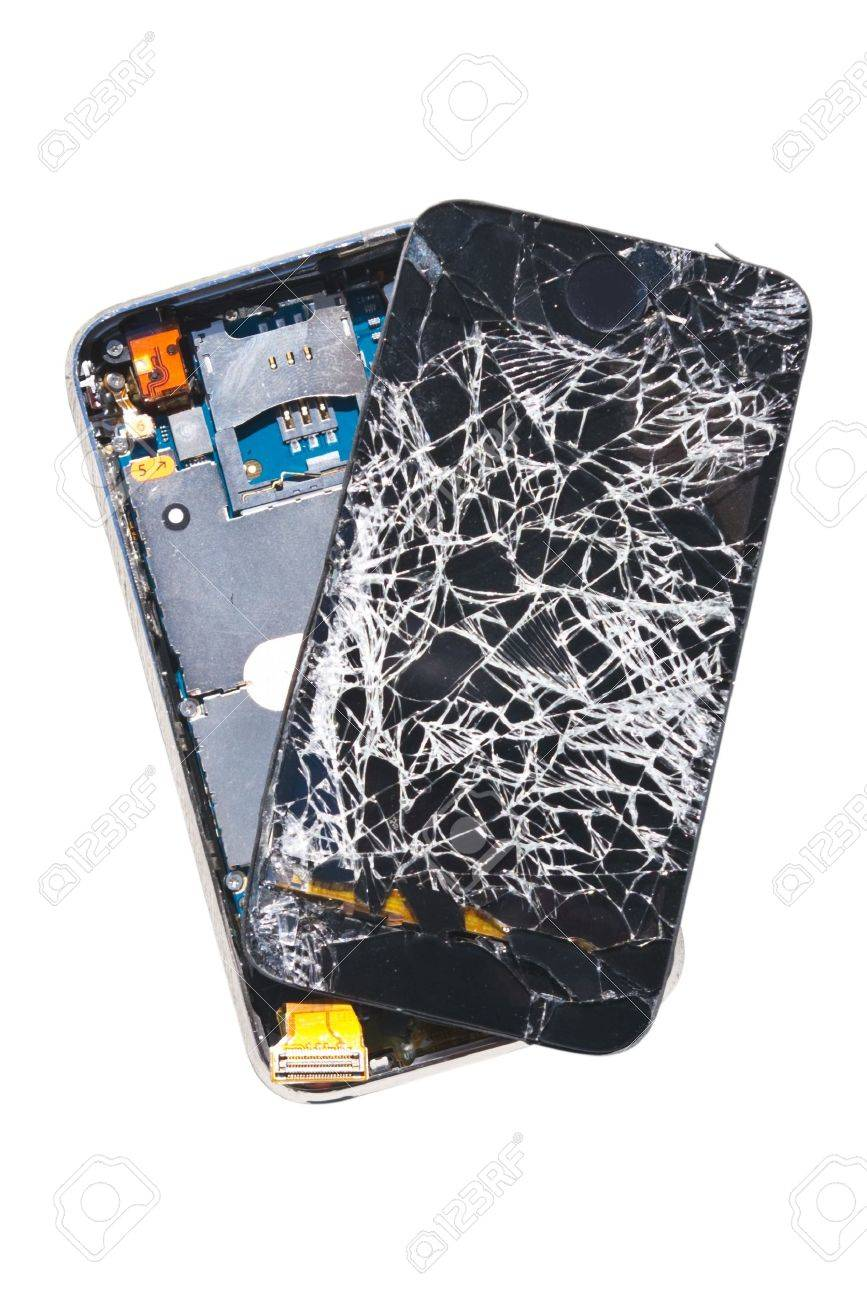 A cell phone that was dropped off a 27th floor balcony, isolated