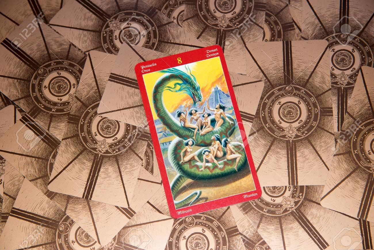 Tarot Card Eight Of Pentacles Dragon Tarot Deck Esoteric