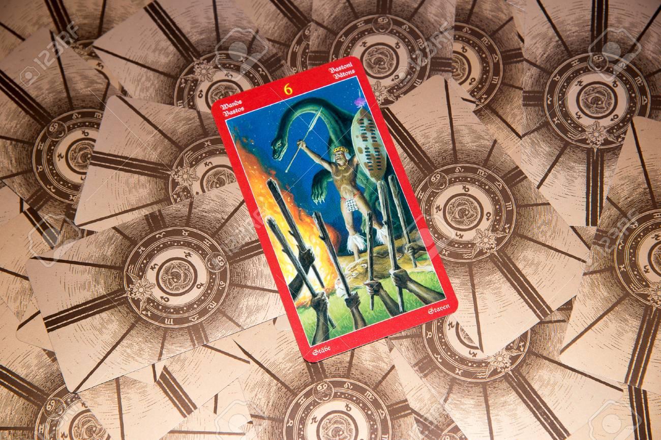 Tarot card Six of Wands  Dragon tarot deck  Esoteric background