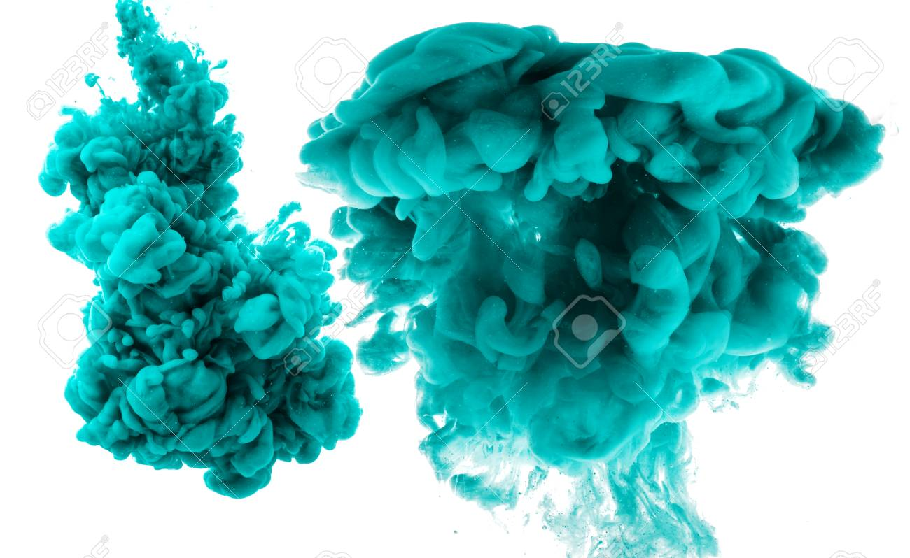 Abstract cyan cloud of silky ink in water on white isolated background. - 121376257