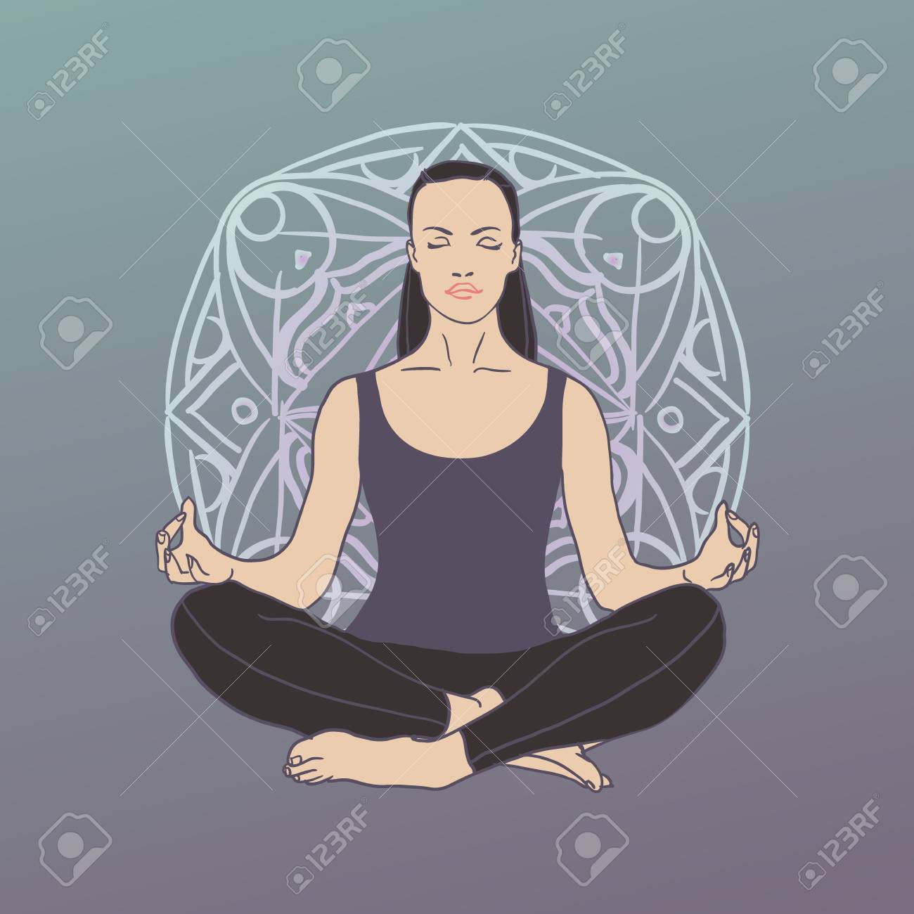 Isolated Woman Silhouette Sitting In Lotus Pose Of Yoga Meditation Royalty Free Cliparts Vectors And Stock Illustration Image 94645708
