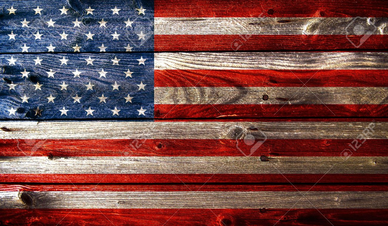 Grunge American Flag With Wooden Texture Stock Photo