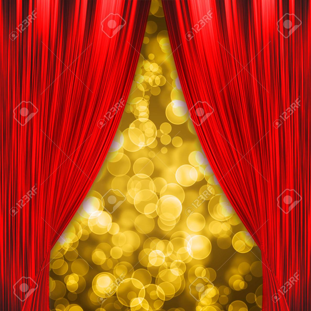 8b9832a94 Two Red Curtains Opening With Glowing Golden Bokeh Stock Photo ...