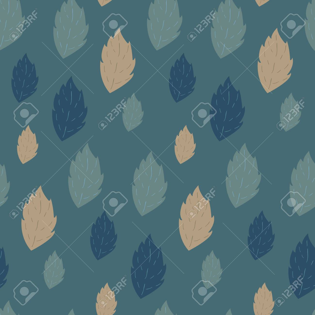 Seamless autumn vector pattern with fallen leaves on cyan background Stock Vector - 24867430