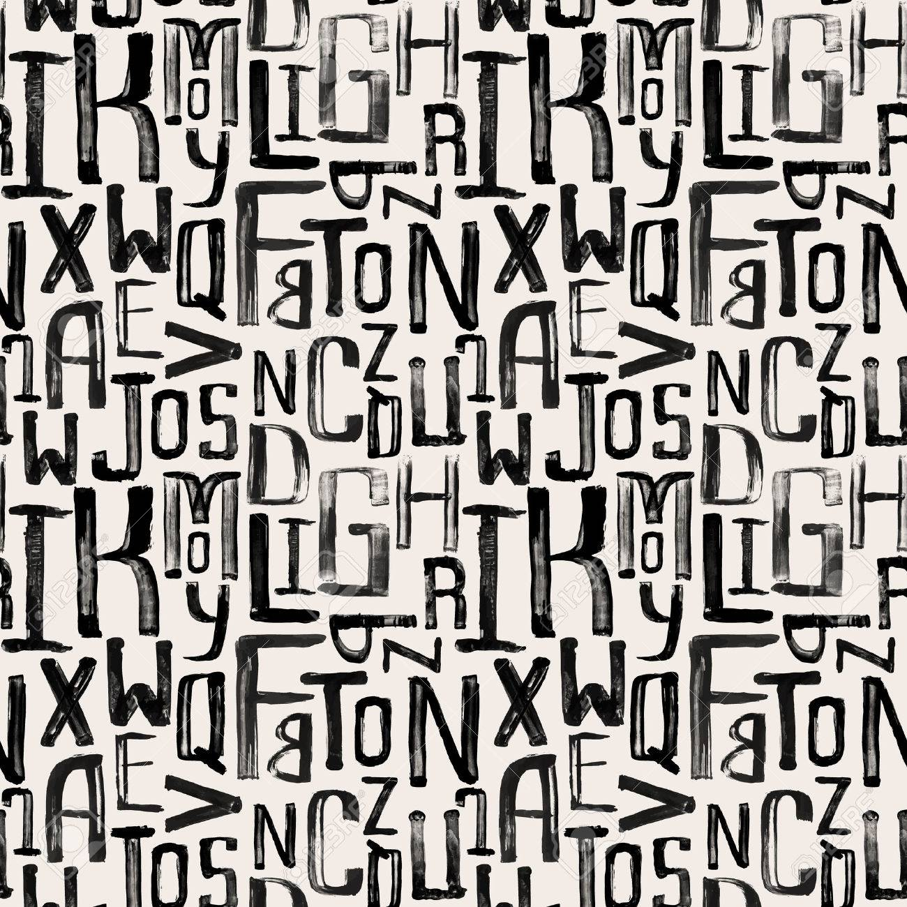 Seamless vintage style pattern, uneven grunge letters of random size - 33662554