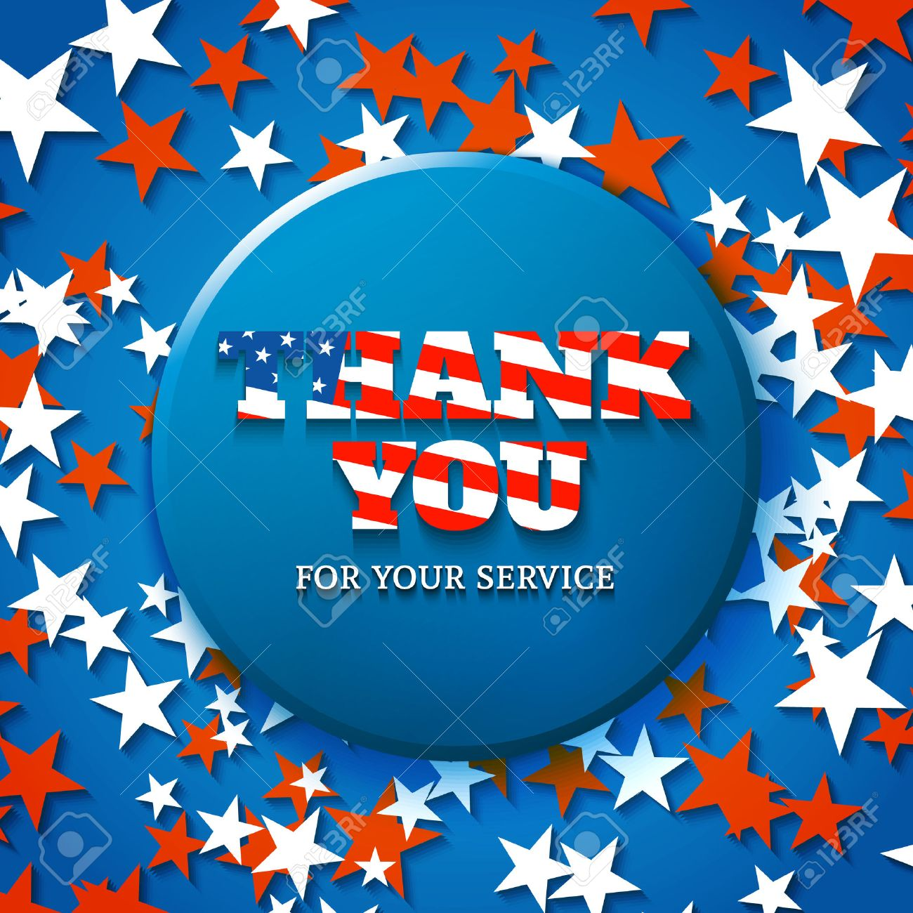 Thank You For Your Service Military Appreciation Card With Star