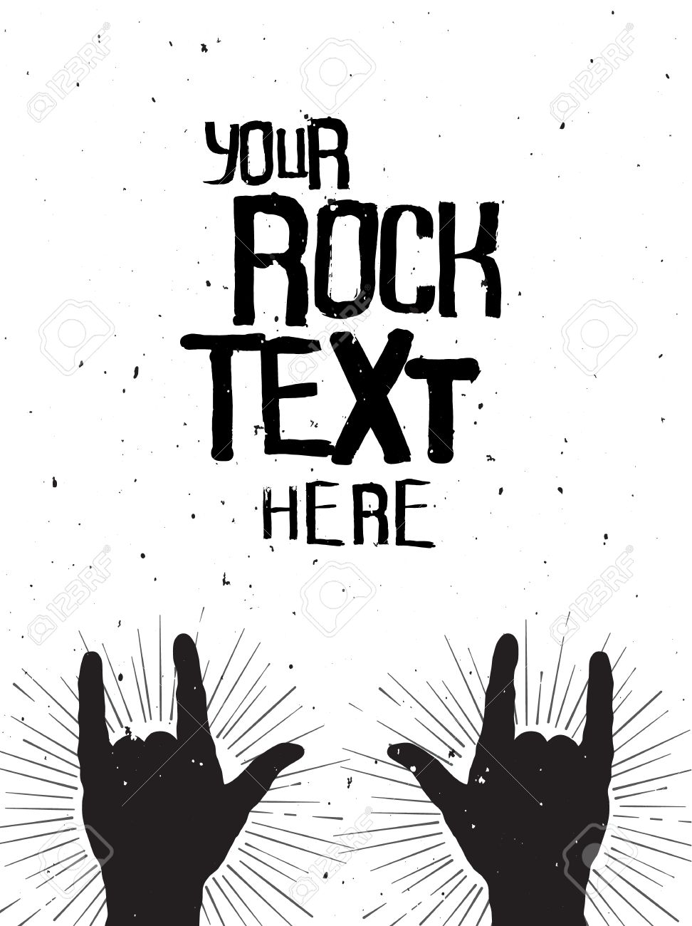 rock hands silhouettes on a concert grunge template for your