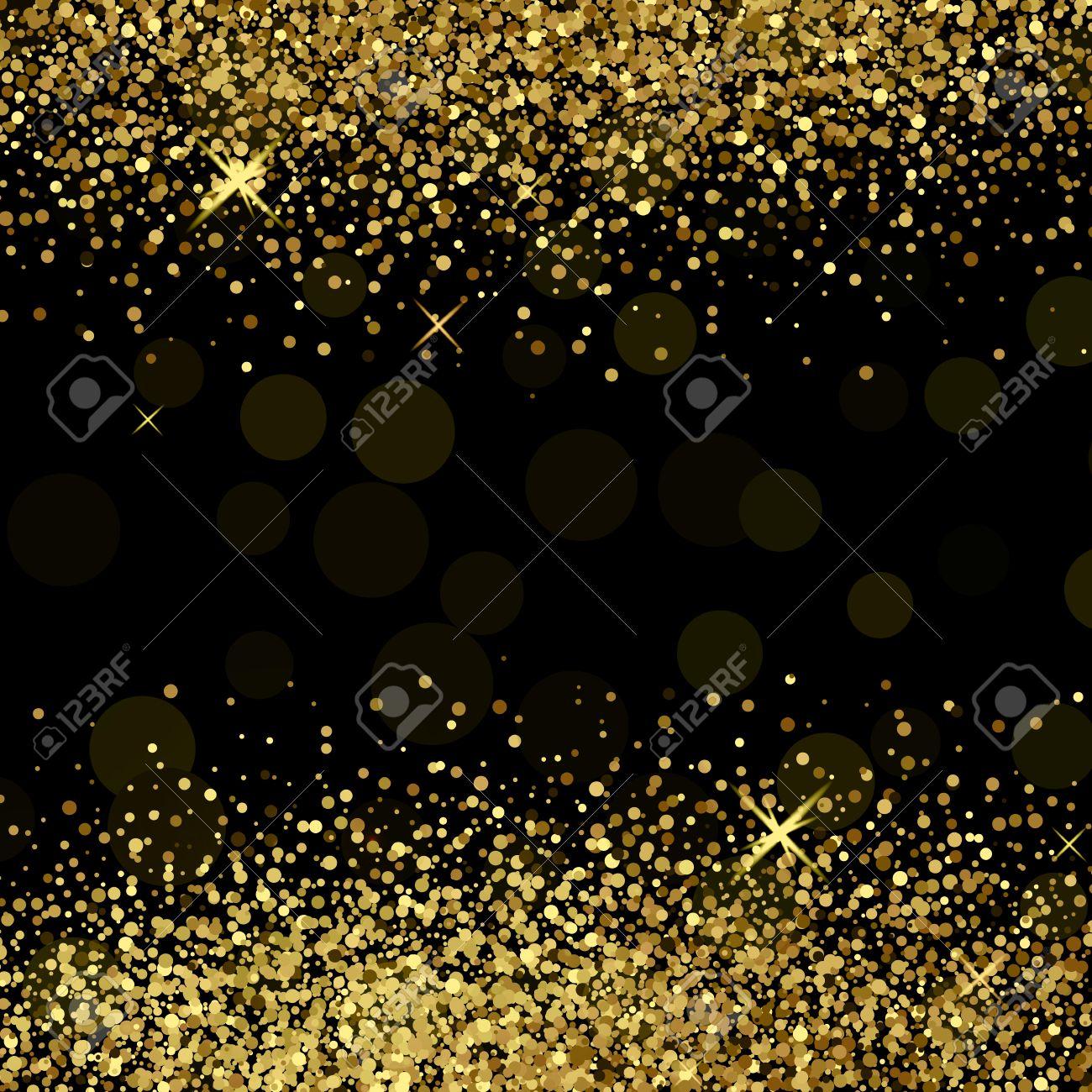 Shiny golden glitter on black background - 50743681