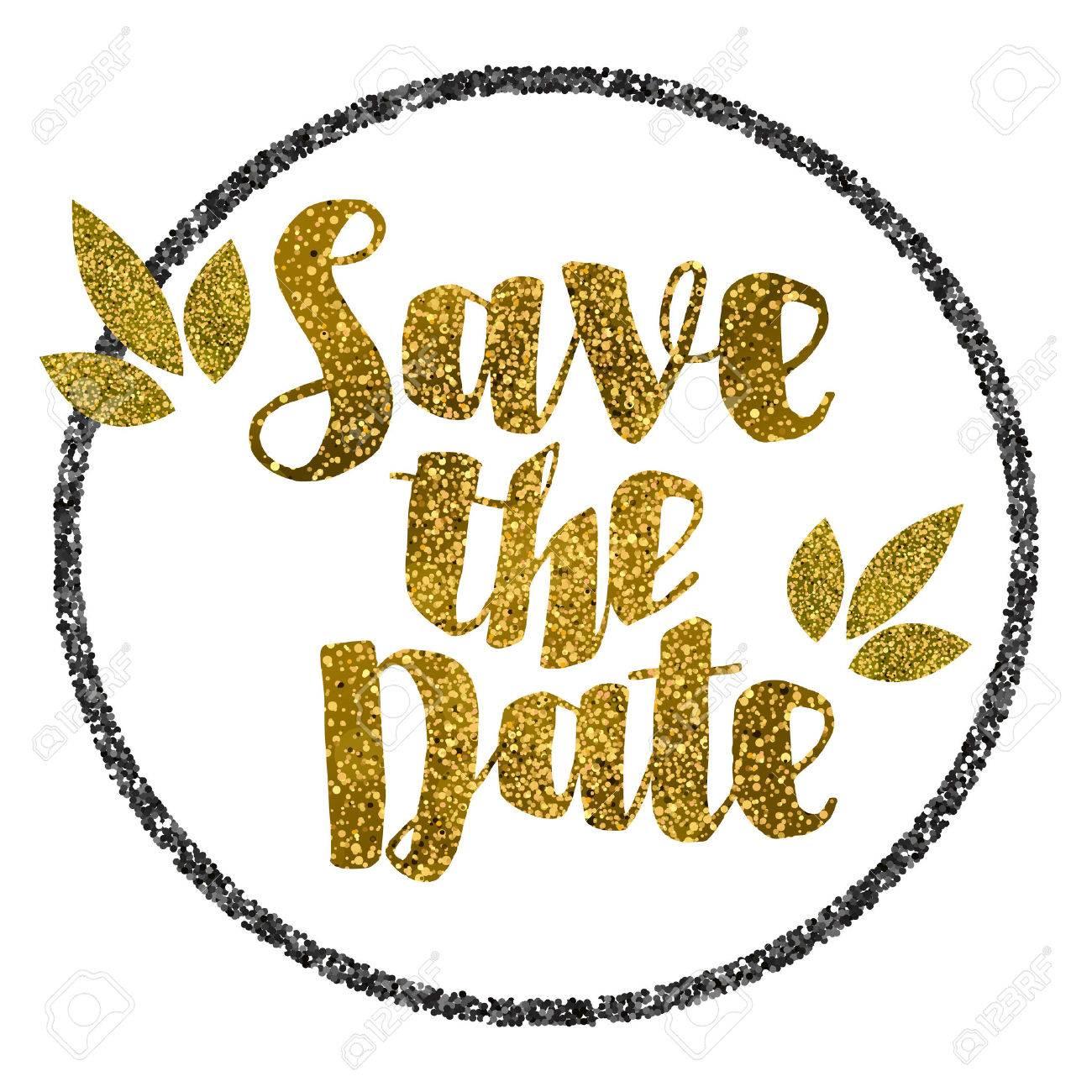 Save the date golden glitter wedding invitation template - 50743808