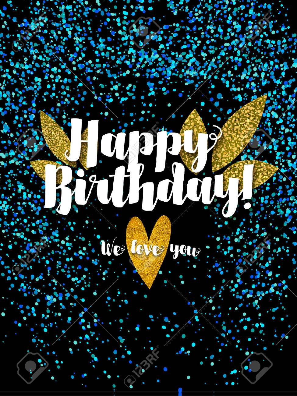 Dark Happy Birthday Card With Scattered Blue Glitter Stock Vector