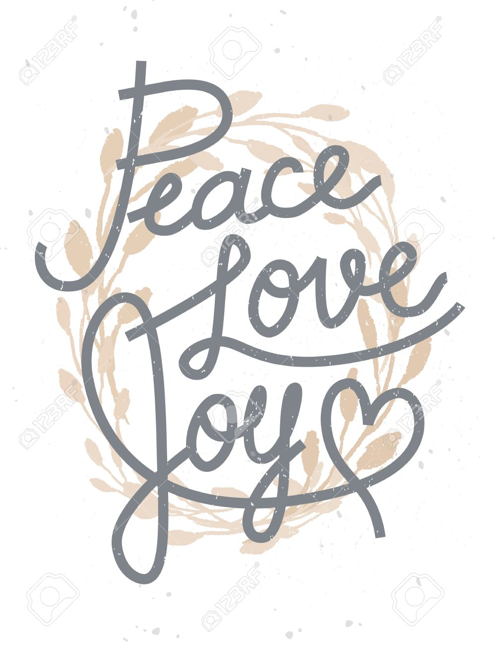 Peace, love, joy Christmas lettering quote with a golden wreath for invitations, greeting cards and other designs - 63730336