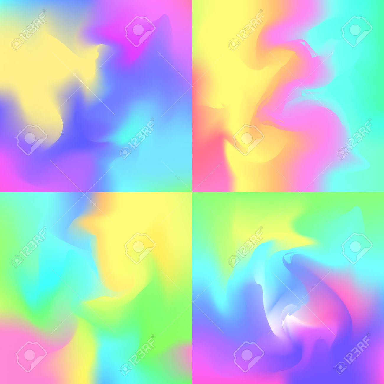 Set Of 4 Pastel Rainbow Backgrounds Hologram Inspired Abstract Royalty Free Cliparts Vectors And Stock Illustration Image 67582807