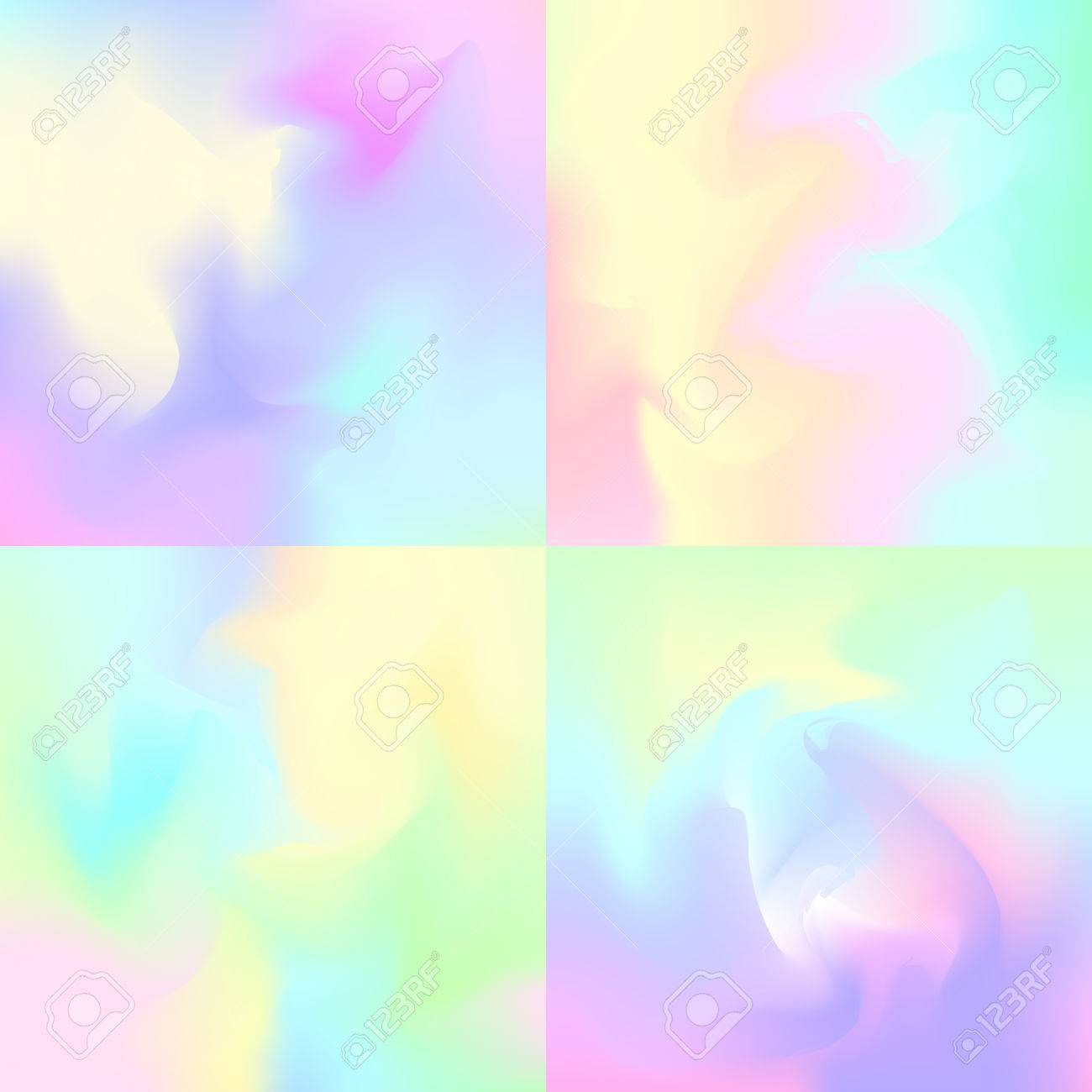 Set Of 4 Pastel Rainbow Backgrounds Hologram Inspired Abstract Royalty Free Cliparts Vectors And Stock Illustration Image 67582808