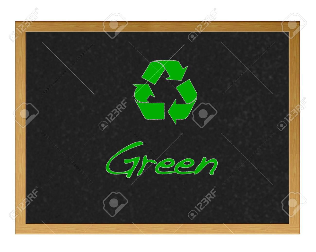 Blackboard with the word Green. Stock Photo - 12214816