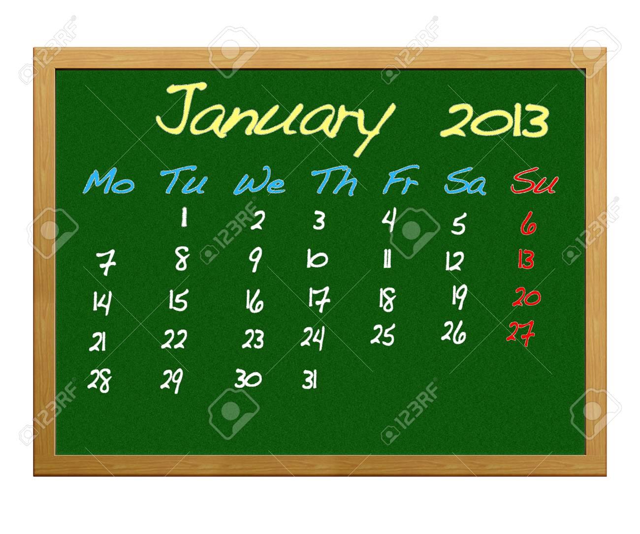 Calendar 2013, January. Stock Photo - 12215102