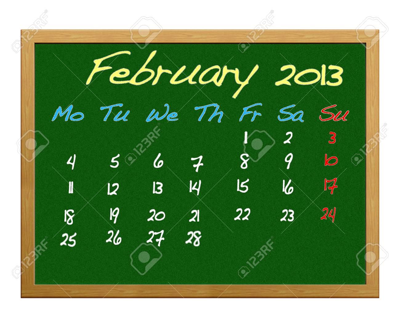 Calendar 2013, February. Stock Photo - 12215101