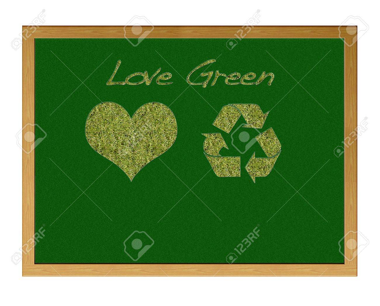 Blackboard with a heart and sign recicle. Stock Photo - 12881184