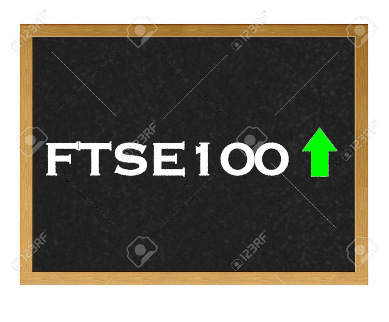 Isolated blackboard with FTSE 100 positive. Stock Photo - 13107561