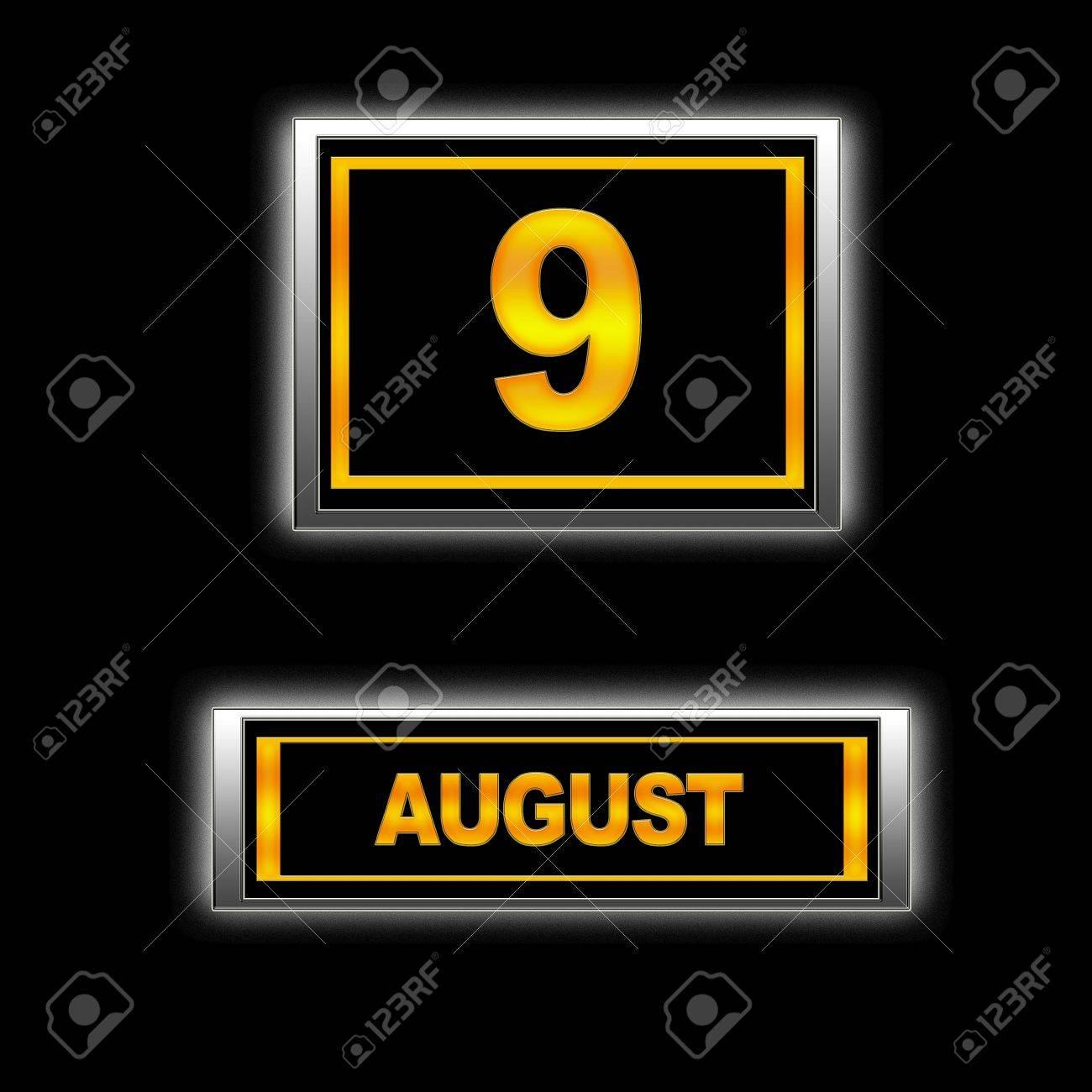 Illustration with Calendar, August 9. Stock Illustration - 13256338