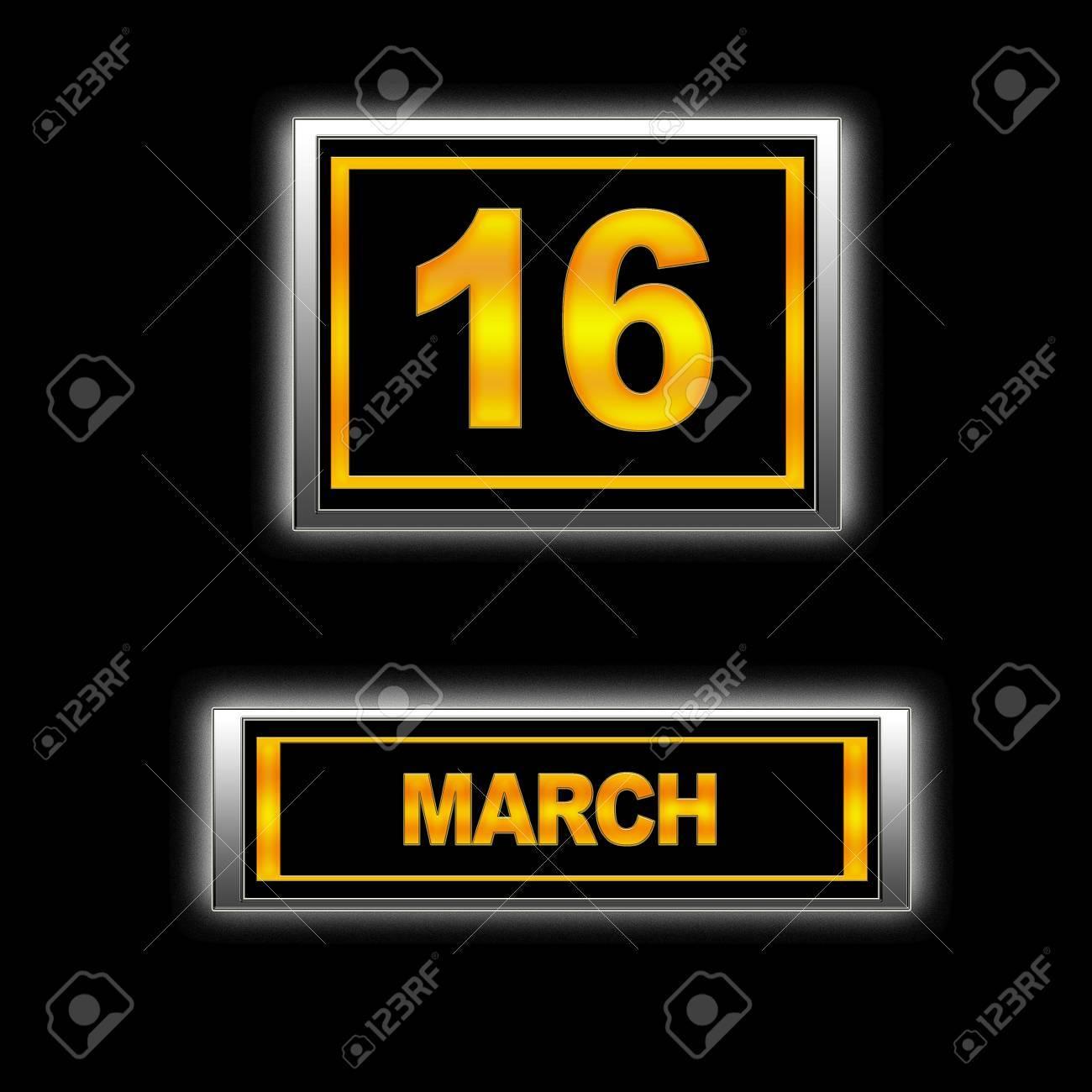 Illustration with Calendar, March 16 Stock Illustration - 13268167