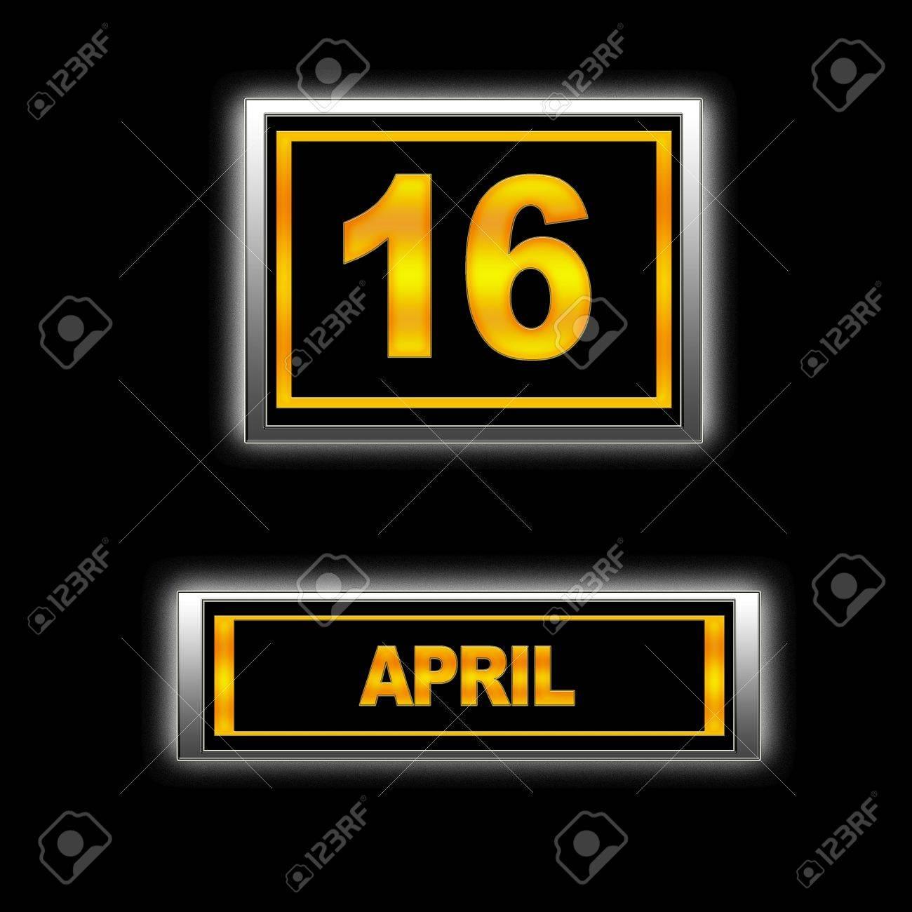 Illustration with Calendar, April   16 Stock Illustration - 13268070