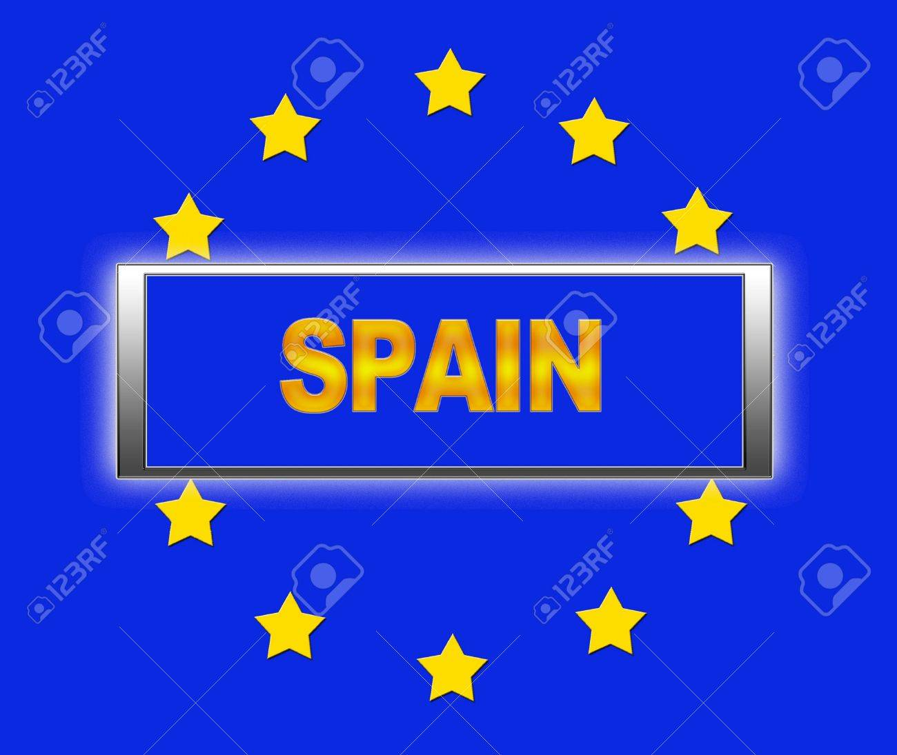The word Spain and flag of Europe Stock Photo - 14884343