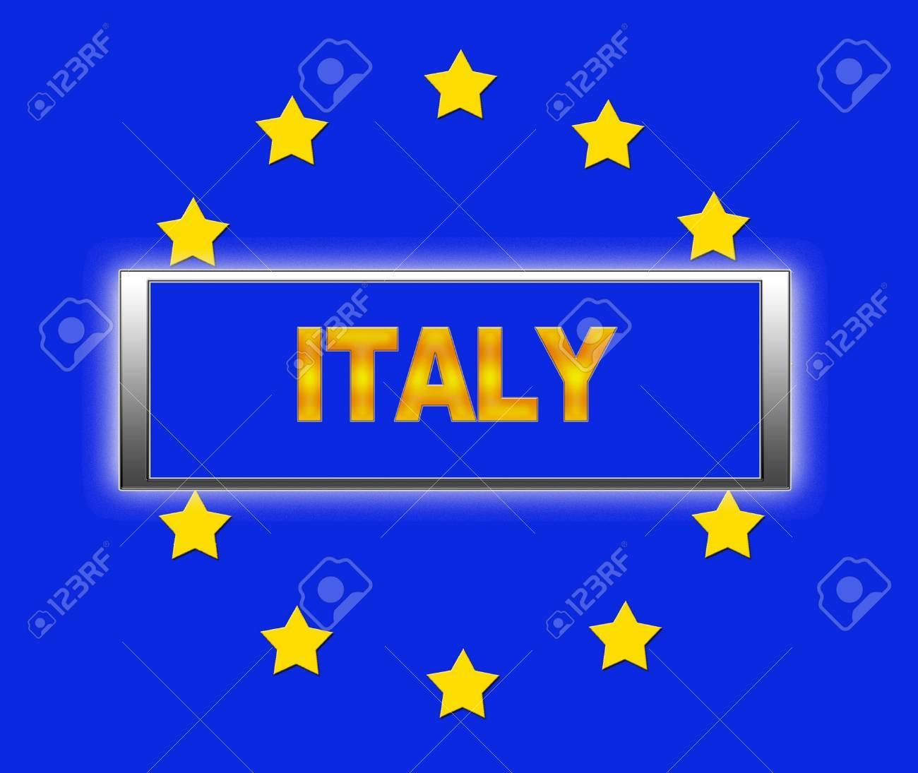 The word Italy and flag of Europe Stock Photo - 14884341