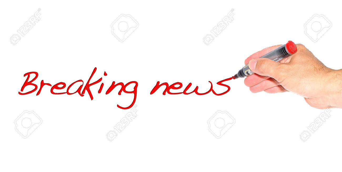 Hand writing the phrase Breaking news on white background Stock Photo - 15512428