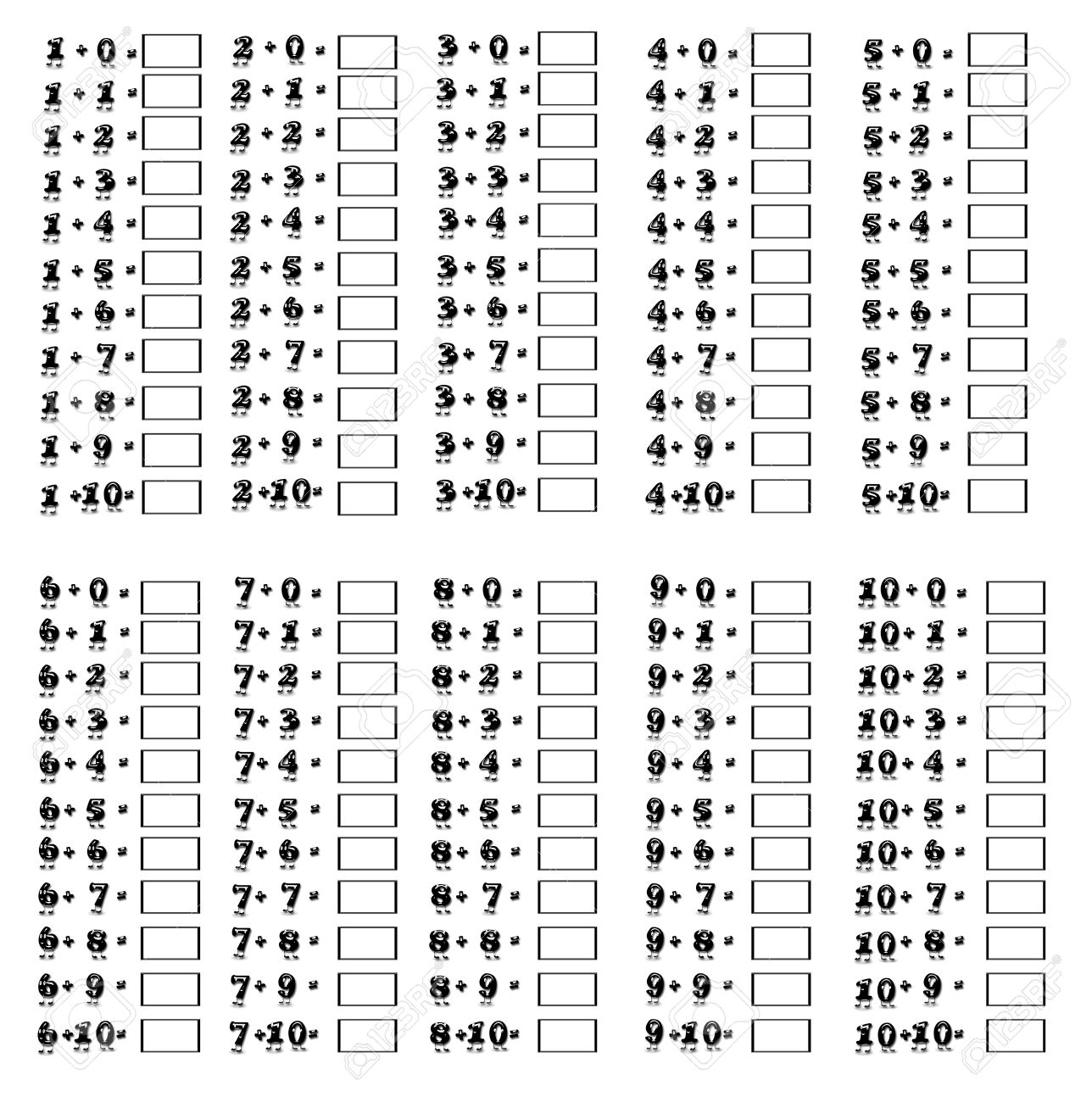 Illustration of addition table on a white background