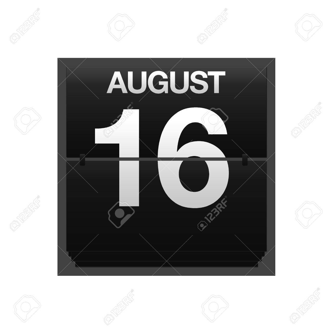 Illustration with a counter calendar august 16 Stock Illustration - 15707452