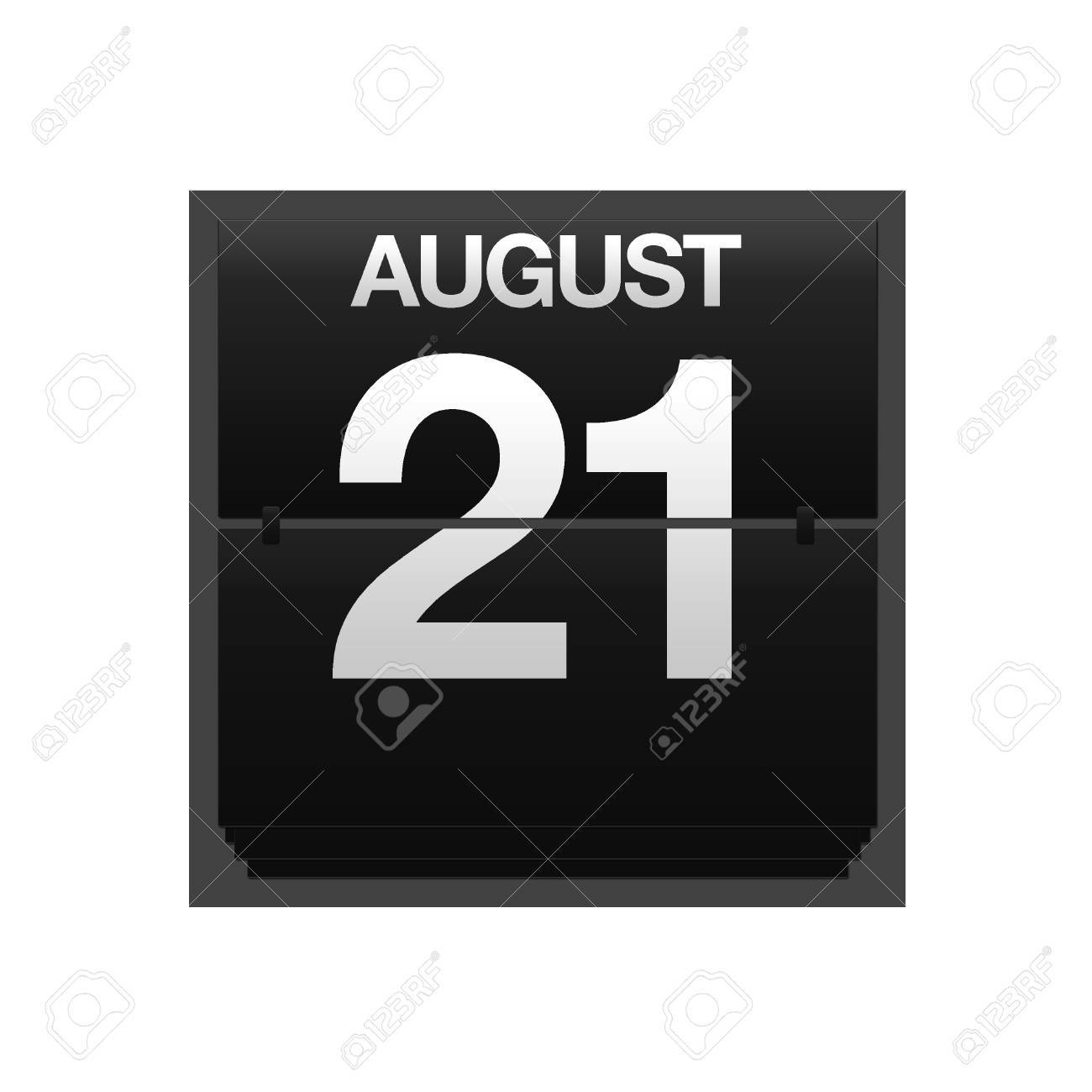 Illustration with a counter calendar august 21 Stock Illustration - 15707419