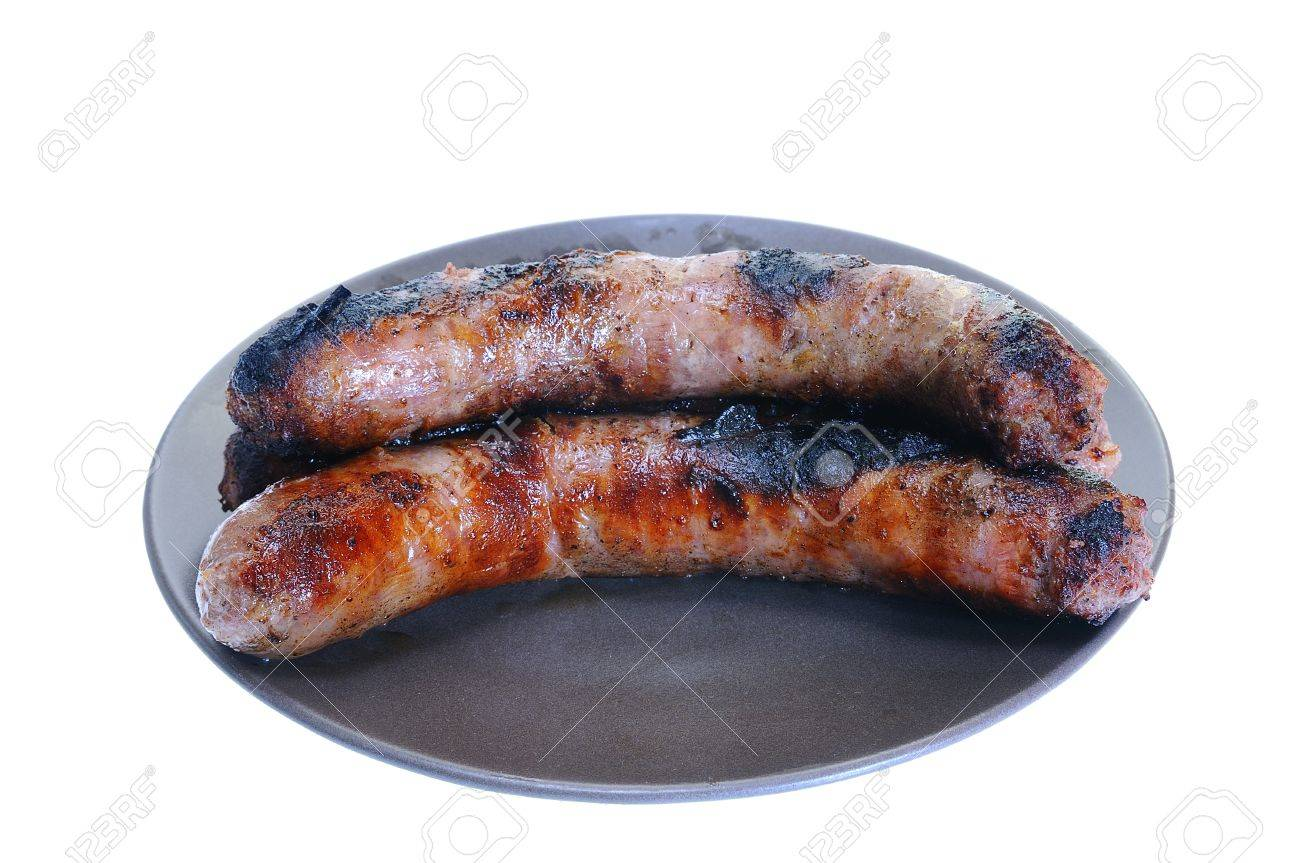 Creole sausage dish for barbecue isolated on white background Stock Photo - 15808925