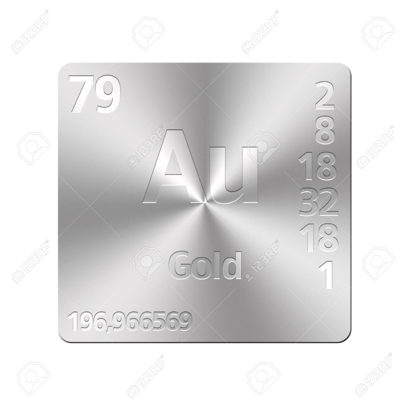Isolated metal button with periodic table, Gold Stock Photo - 15972762