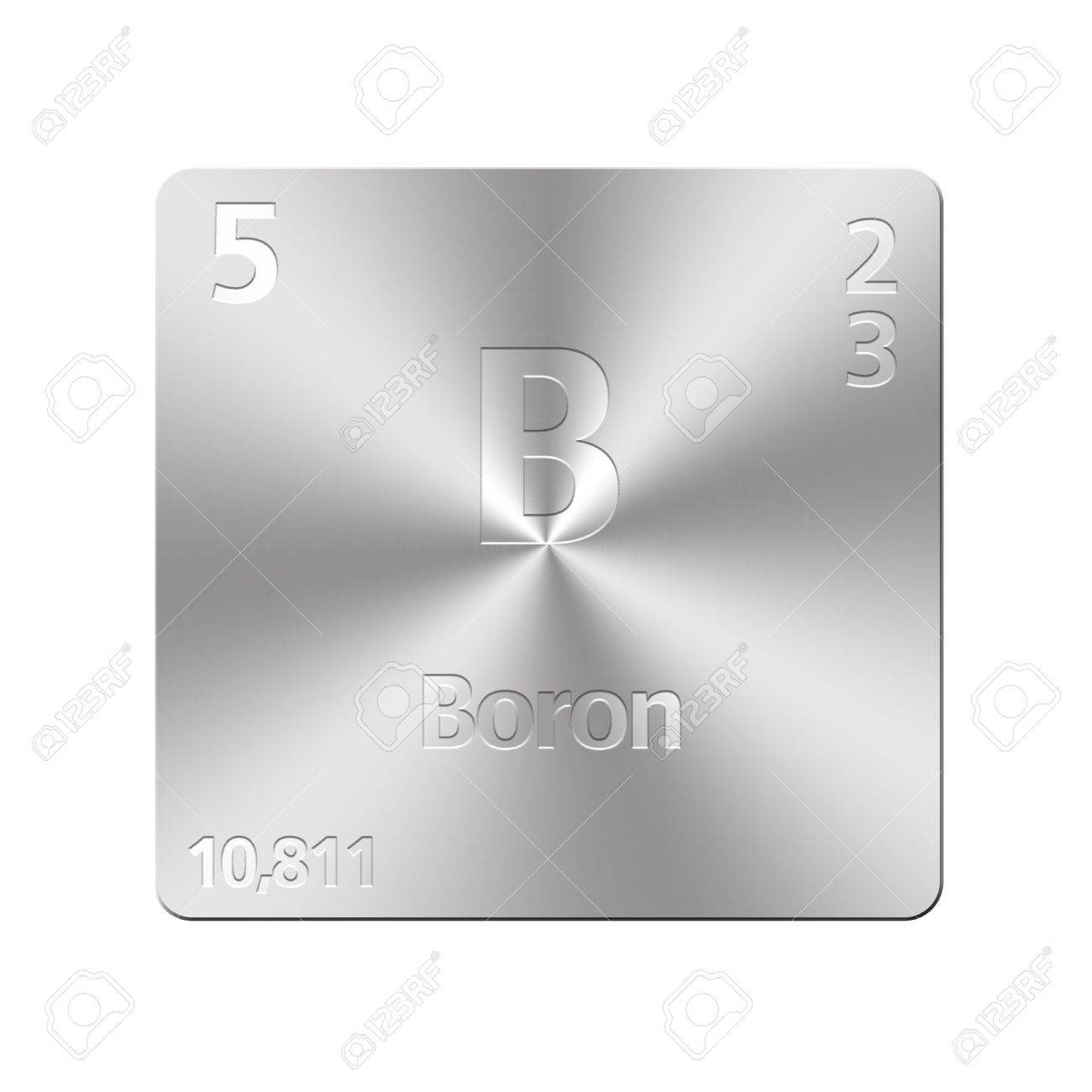 Isolated metal button with periodic table, Boron Stock Photo - 15972826