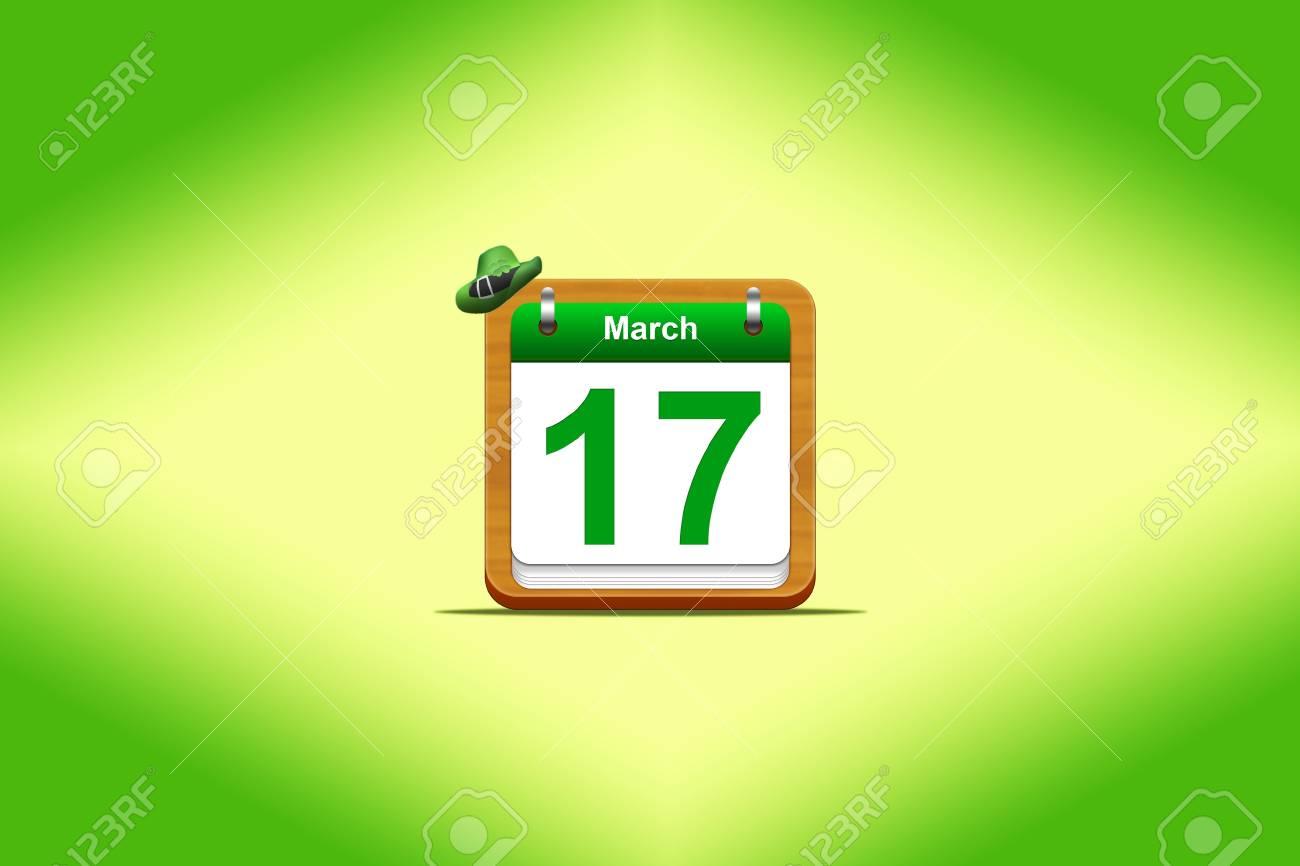Illustration with a St Patrick day calendar Stock Illustration - 16355970