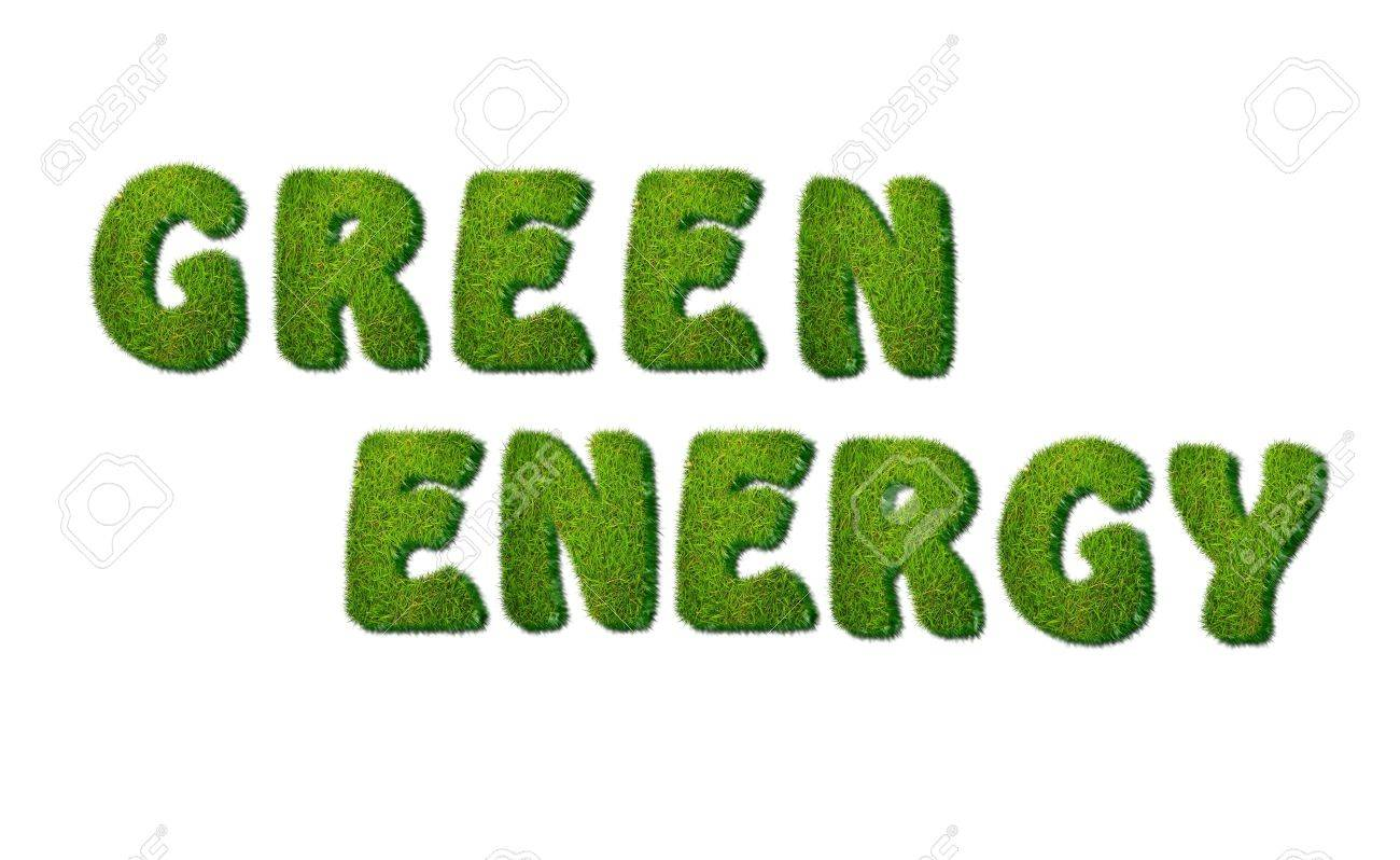 Illustration of a phrase Green energy in grass Stock Illustration - 16507721
