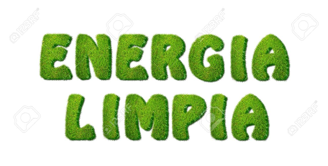Illustration with a phrase Clean Energy grass Stock Illustration - 16749677