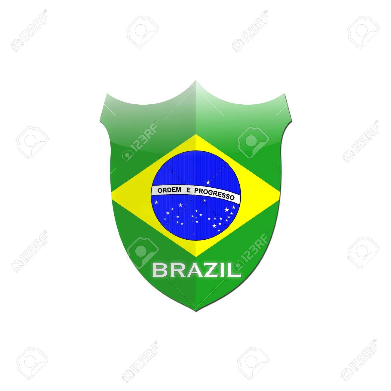 Illustration with Brazil shield on white background Stock Illustration - 16749670
