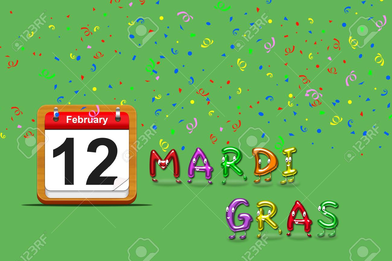 Illustration with a mardi gras calendar 2013 on a green background Stock Photo - 17109307