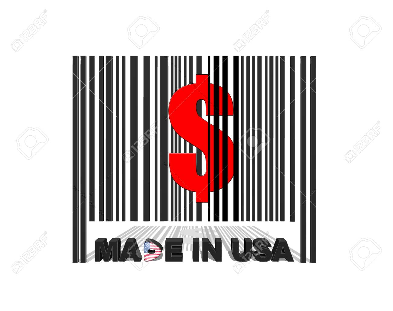 Illustration with a barcode made in usa Stock Illustration - 17230318